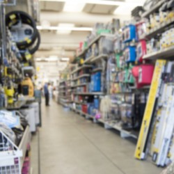 blurred background of the hardware store with merchandise on display